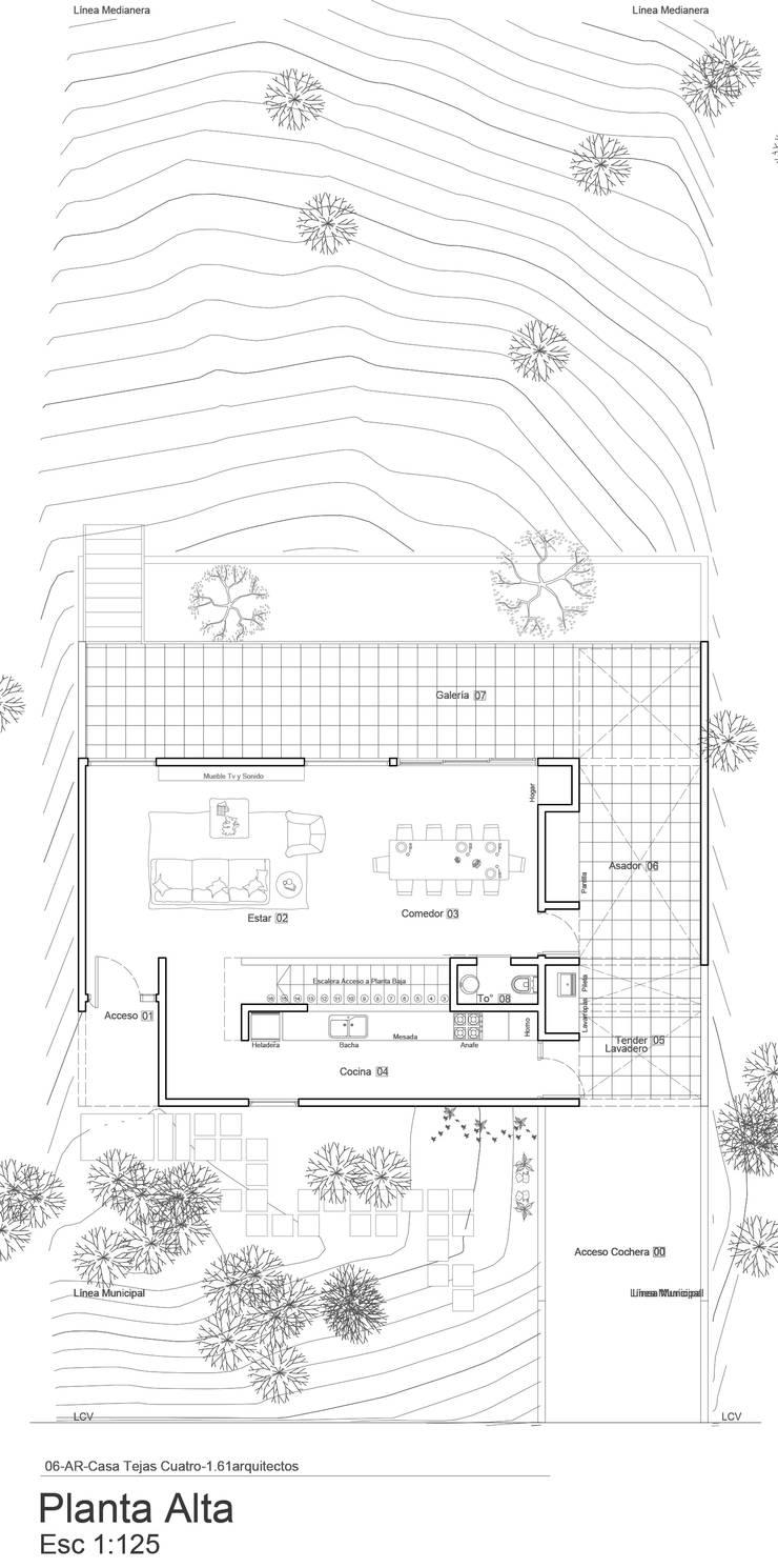 Planta Alta, sobre loma.:  de estilo  por 1.61 Arquitectos