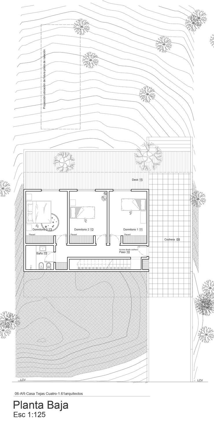 Planta Baja semienterrada:  de estilo  por 1.61 Arquitectos
