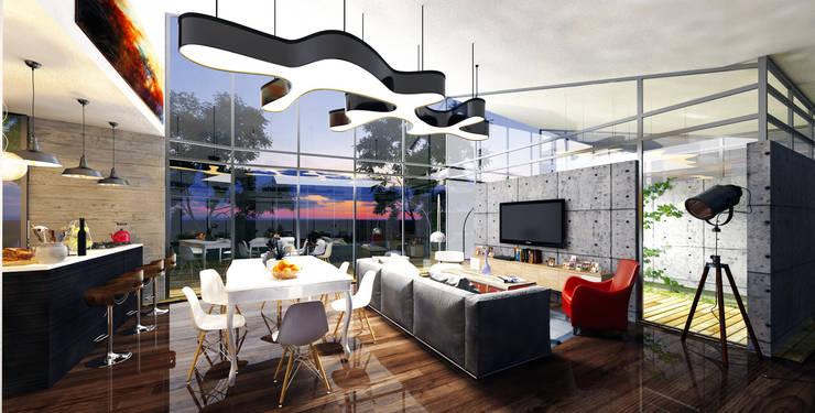 Casa Santa Elena: Salas de estilo  por O11ceStudio