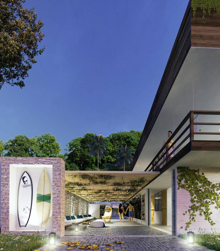 Native Surf Hostel: Casas de estilo  por O11ceStudio, Moderno