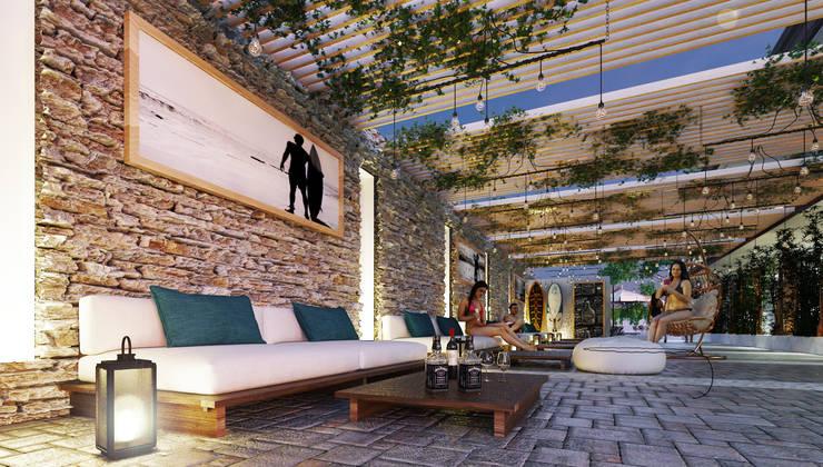Native Surf Hostel: Salas de estilo  por O11ceStudio, Moderno
