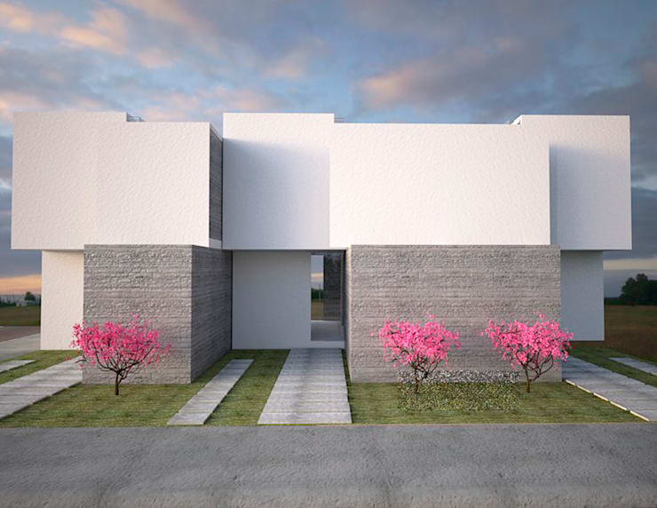 fachada principal diseño minimalista : Casas de estilo  por Element+1 taller de arquitectura
