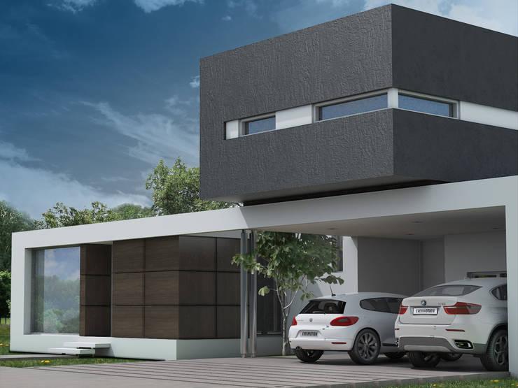 Fachada 2: Casas de estilo  por Poggi Schmit Arquitectura,