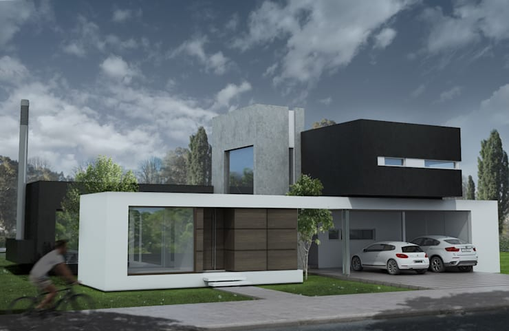 Fachada 1: Casas de estilo  por Poggi Schmit Arquitectura,