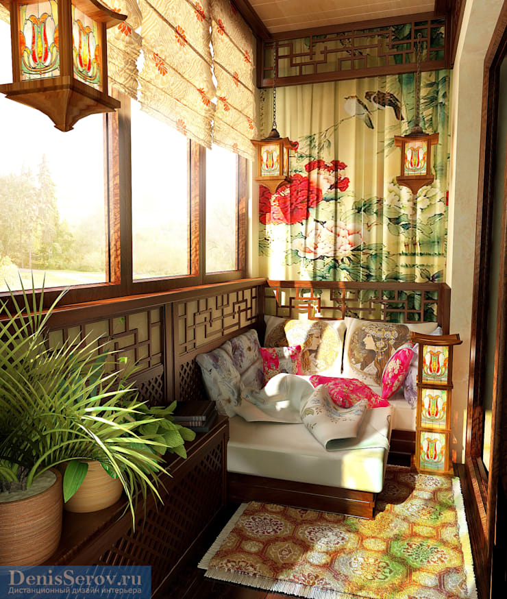 Balcones y terrazas de estilo asiático de Студия интерьера Дениса Серова Asiático