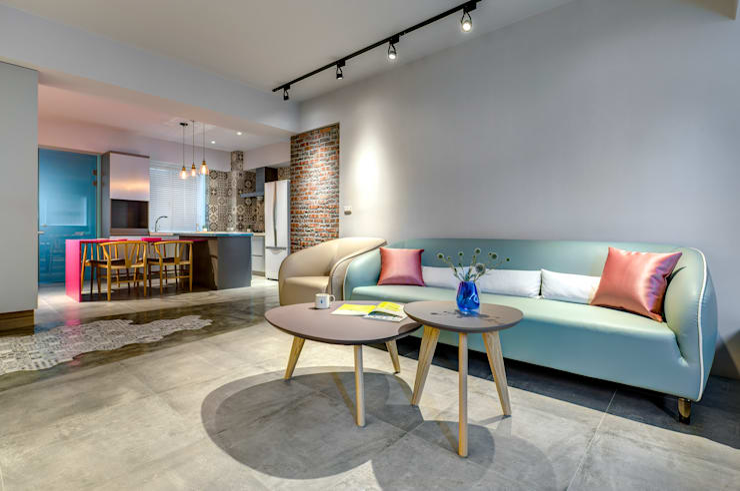 二手屋的小清新旅程:  客廳 by 磨設計