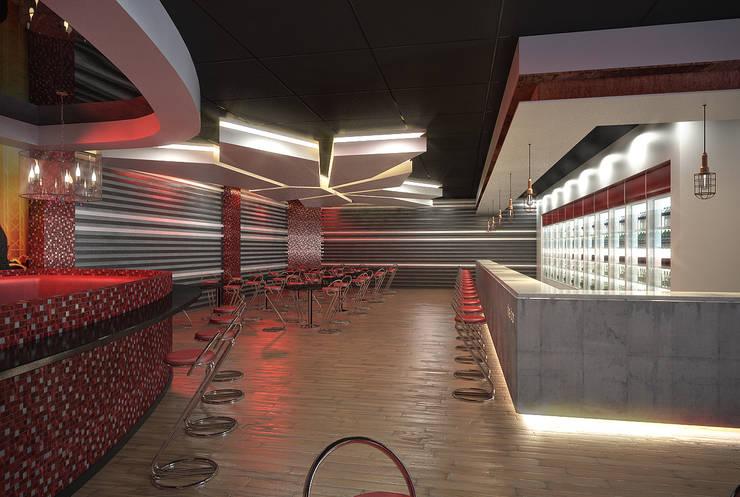 Night Club:  Bars & clubs by HEID Interior Design, Industrial Concrete