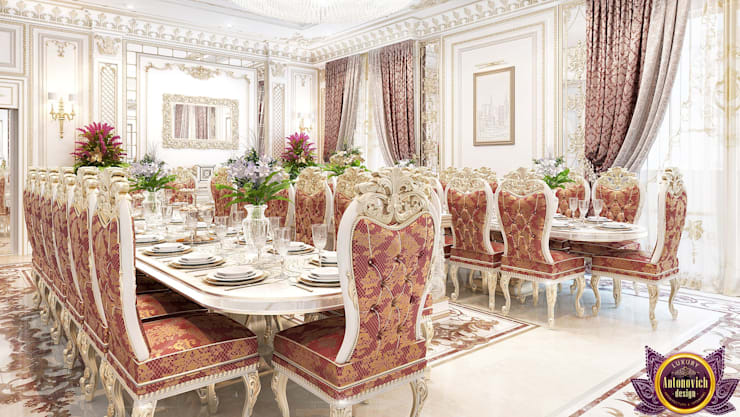 ​  Dining room interior of Katrina Antonovich:  Dining room by Luxury Antonovich Design