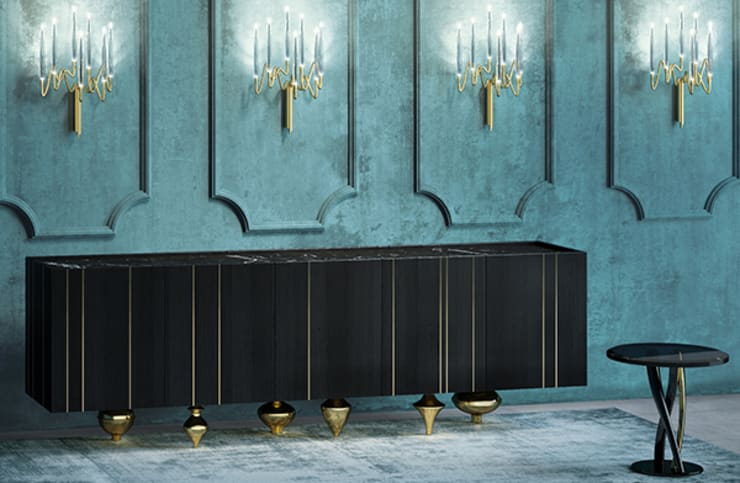 Il Pezzo 1 Black Credenza:  Living room by Il Pezzo Mancante Srl