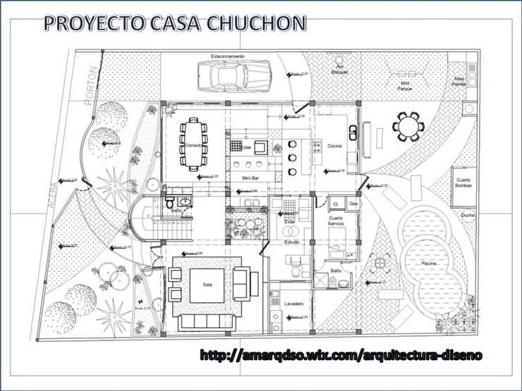 """Proyecto """"Casa Chuchon"""":  de estilo  por A.M. ARQUITECTURA +DISEÑO"""