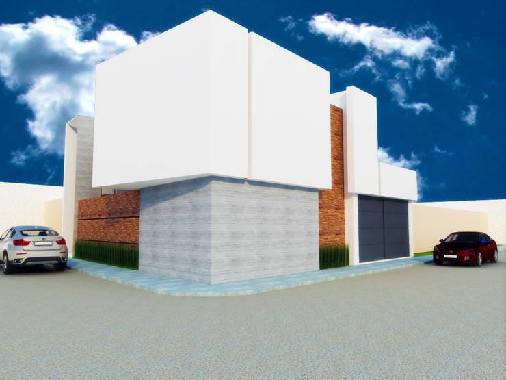 FACHADA ESQUINA: Casas de estilo  por DLR ARQUITECTURA/ DLR DISEÑO EN MADERA
