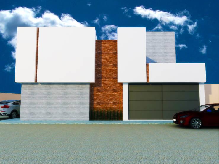 FACHADA PONIENTE: Casas de estilo  por DLR ARQUITECTURA/ DLR DISEÑO EN MADERA