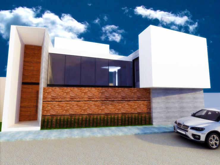FACHADA SUR: Casas de estilo  por DLR ARQUITECTURA/ DLR DISEÑO EN MADERA