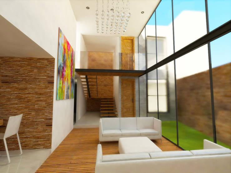 SALA: Salas de estilo  por DLR ARQUITECTURA/ DLR DISEÑO EN MADERA