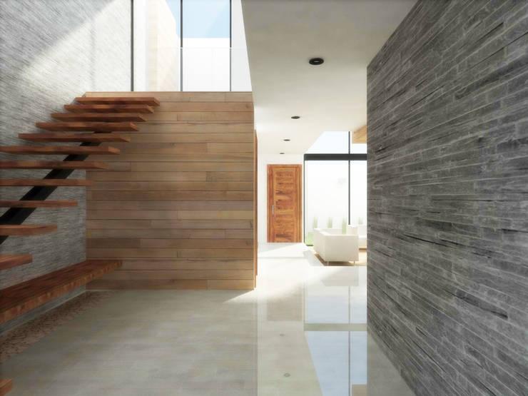 ACCESO/ESCALERAS: Pasillos y recibidores de estilo  por DLR ARQUITECTURA/ DLR DISEÑO EN MADERA
