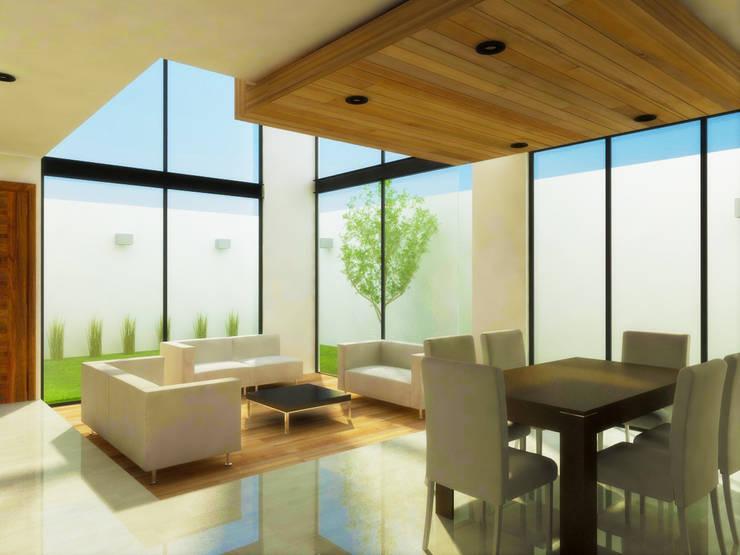 PROYECTO CASA HABIACIÓN R+Z: Salas de estilo  por DLR ARQUITECTURA/ DLR DISEÑO EN MADERA