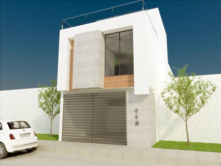 FACHADA PRICIPAL: Casas de estilo  por DLR ARQUITECTURA/ DLR DISEÑO EN MADERA