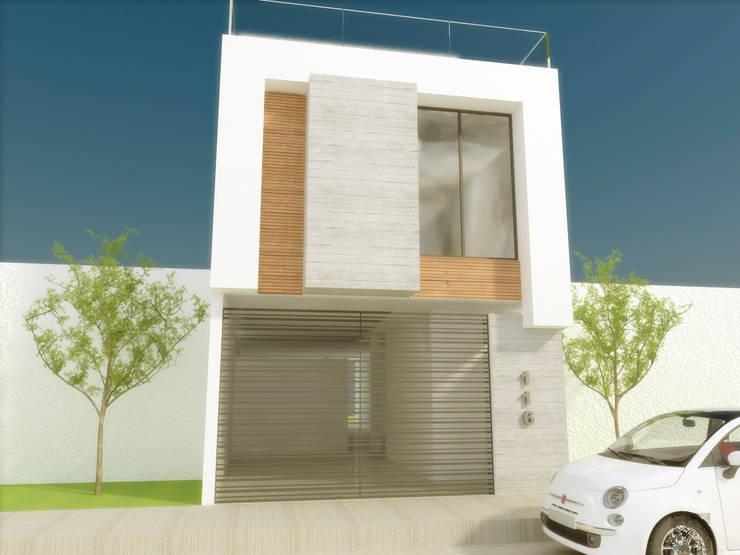 FACHADA PRINCIPAL: Casas de estilo  por DLR ARQUITECTURA/ DLR DISEÑO EN MADERA