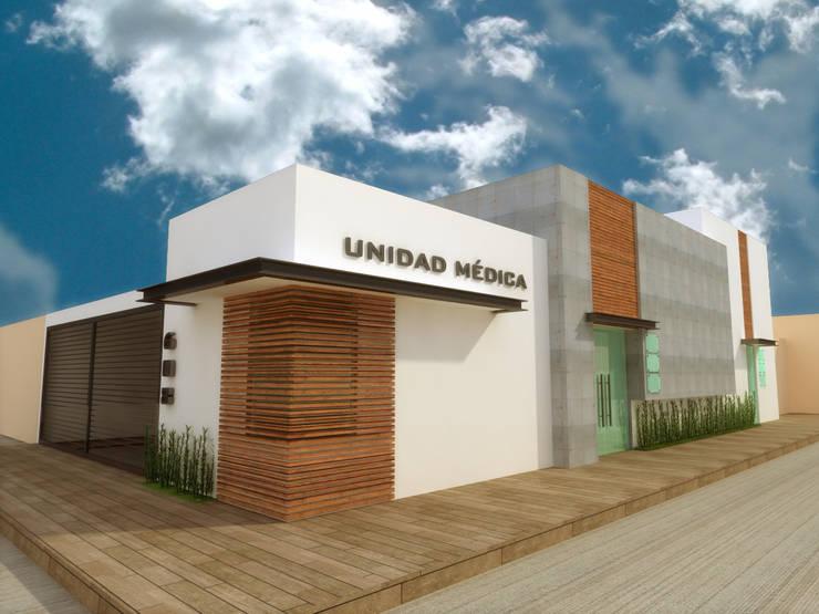 FACHADA ESQUINA: Clínicas / Consultorios Médicos de estilo  por DLR ARQUITECTURA/ DLR DISEÑO EN MADERA