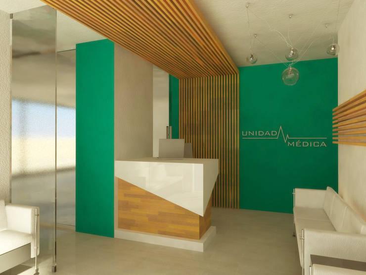 RECEPCIÓN: Clínicas / Consultorios Médicos de estilo  por DLR ARQUITECTURA/ DLR DISEÑO EN MADERA