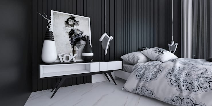 black and white bedroom:  Bedroom by KARU AN ARTIST
