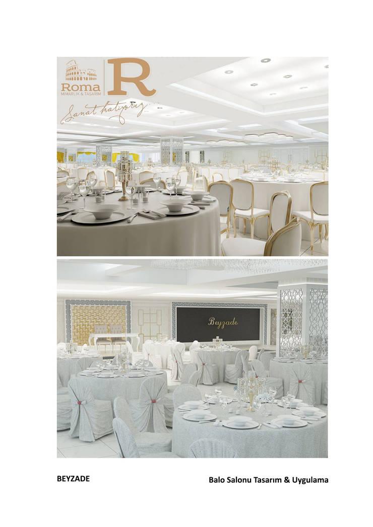 Roma Mimarlık – Beyzade Düğün Salonu Tasarımı:  tarz , Klasik İşlenmiş Ahşap Şeffaf