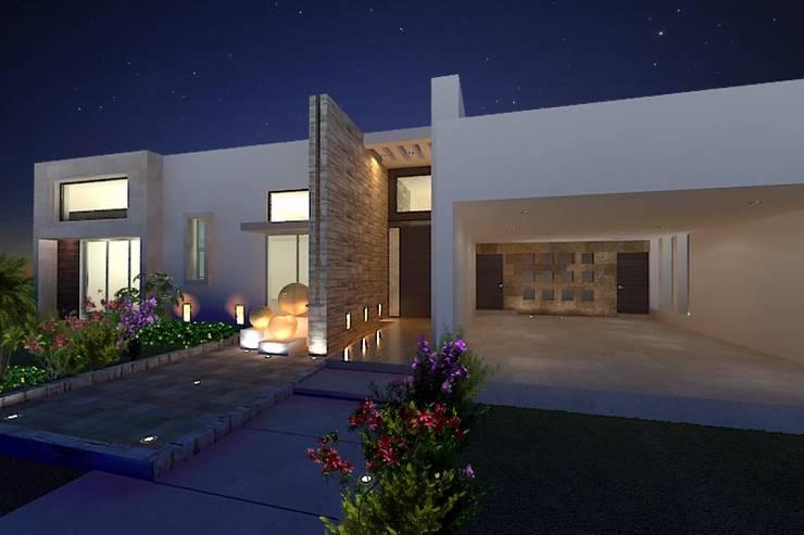 Vista Nocturna de fachada: Casas de estilo  por HF Arquitectura