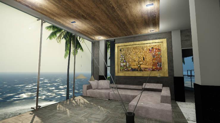 CASA EMR : Salas de estilo  por SG Huerta Arquitecto Cancun