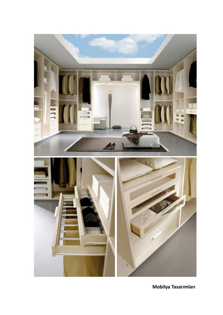 Roma Mimarlık – Giyinme Odası Tasarımı: modern tarz , Modern İşlenmiş Ahşap Şeffaf