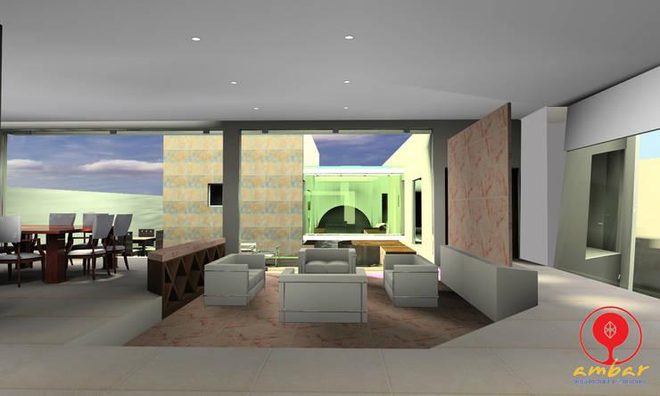 CASA DE LOS PATIOS : Salas de estilo  por SG Huerta Arquitecto Cancun