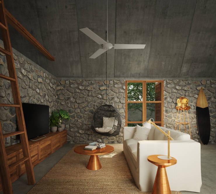 Casa Cham: Salas de estilo  por La Desarrolladora