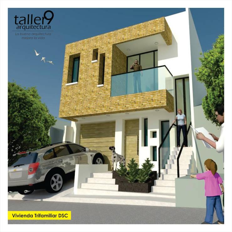 Fachada Principal: Casas de estilo  por TALLER 9, ARQUITECTURA