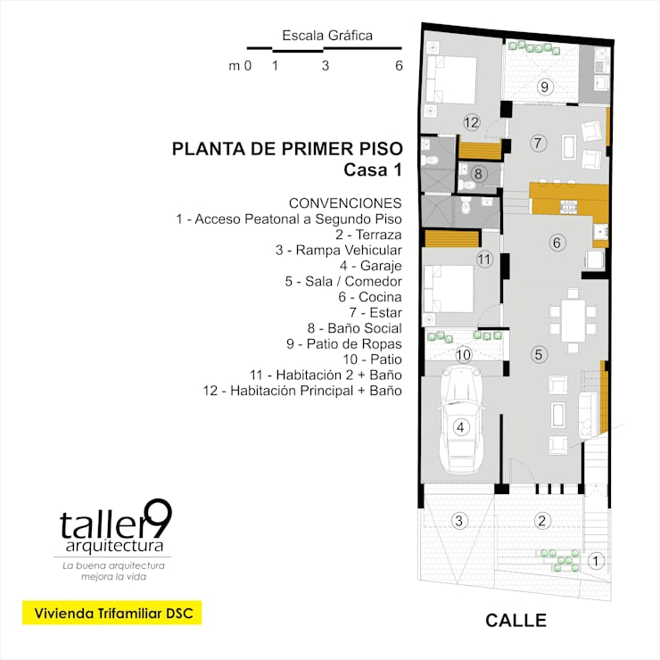 Planta de Primer Piso: Casas de estilo  por TALLER 9, ARQUITECTURA
