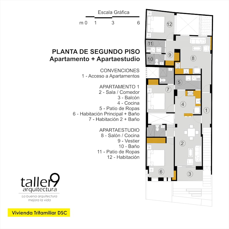 Planta de Segundo Piso: Casas de estilo  por TALLER 9, ARQUITECTURA