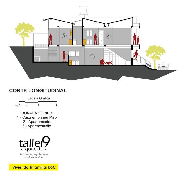 """VIVIENDA TRI-FAMILIAR """"DSC"""": Casas de estilo  por TALLER 9, ARQUITECTURA"""