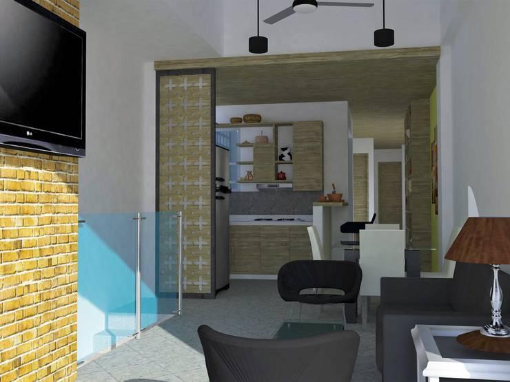 Salón principal y cocina.: Salas de estilo  por TALLER 9, ARQUITECTURA