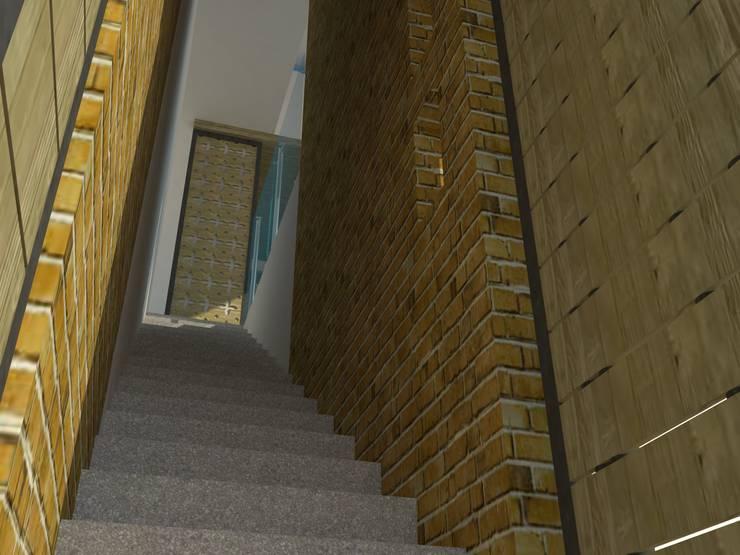 Acceso a segundo piso.: Pasillos y vestíbulos de estilo  por TALLER 9, ARQUITECTURA