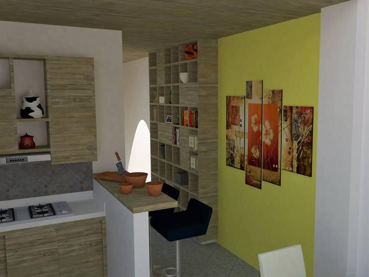 Vista de cocina y mueble de biblioteca.: Cocinas de estilo  por TALLER 9, ARQUITECTURA