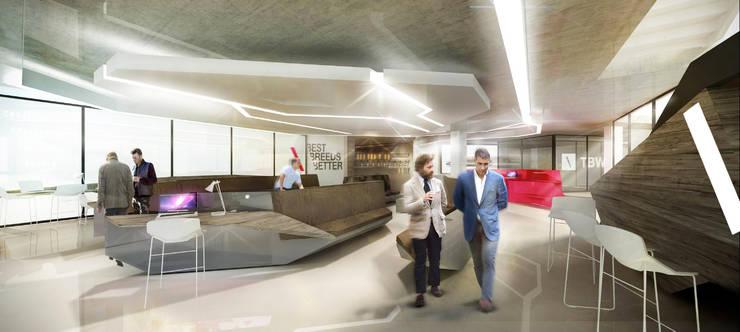 TBWA SA new reception area.:  Office buildings by Premiere Design Studio