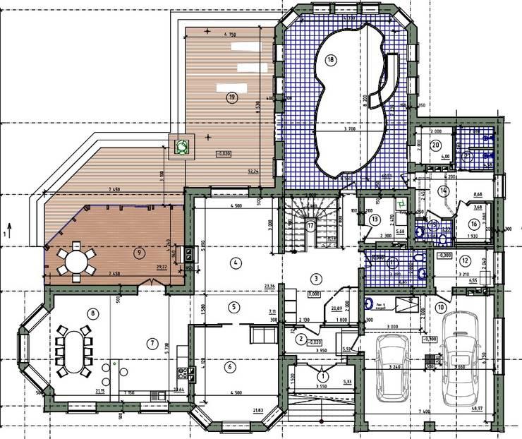 план помещений 1-го этажа:  в . Автор – СК 'РЕЗИДЕНЦИЯ'