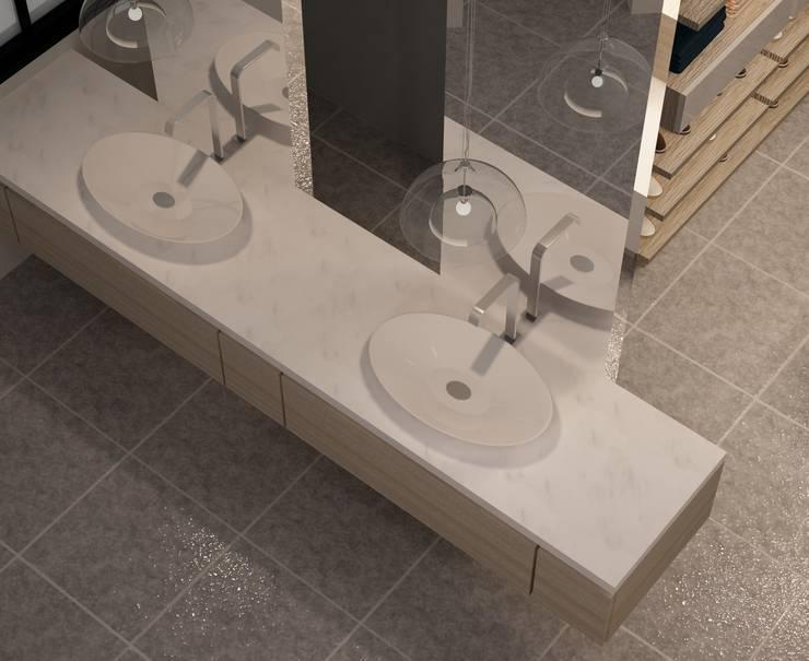 CASA DEL TREBOL: Baños de estilo  por santiago dussan architecture & Interior design