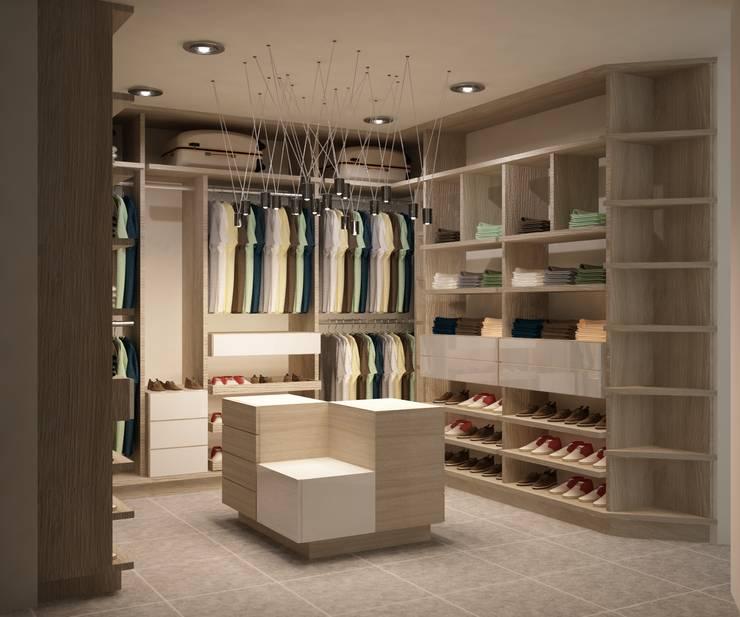 CASA DEL TREBOL: Vestidores de estilo  por santiago dussan architecture & Interior design