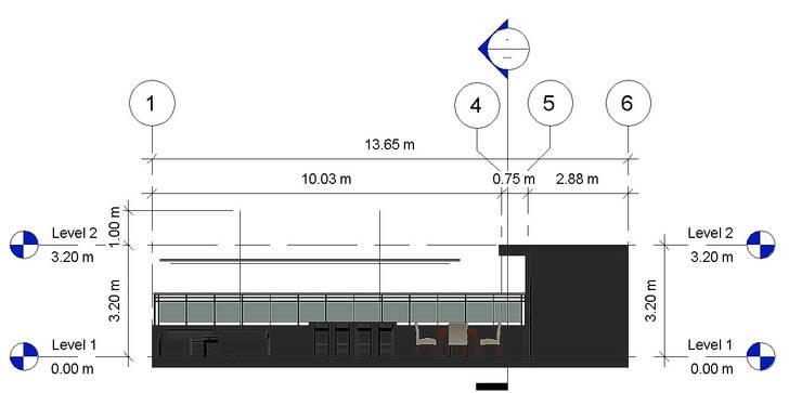 Corte Longitudinal- Terraza CDMX: Terrazas de estilo  por Arqos Arquitectos