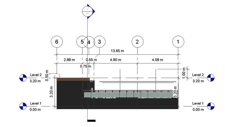 Alzado Lateral Der- Terraza CDMX: Terrazas de estilo  por Arqos Arquitectos