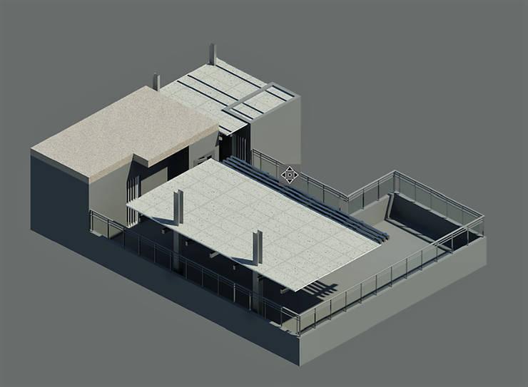 Modelado 3d Revit 2016/Twinmotion Real Time- Terraza CDMX: Terrazas de estilo  por Arqos Arquitectos