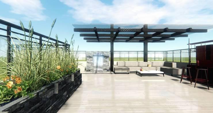 Render Ingreso- Terraza CDMX: Terrazas de estilo  por Arqos Arquitectos
