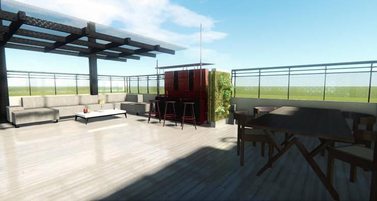 Prueba Render Int- Terraza CDMX: Terrazas de estilo  por Arqos Arquitectos