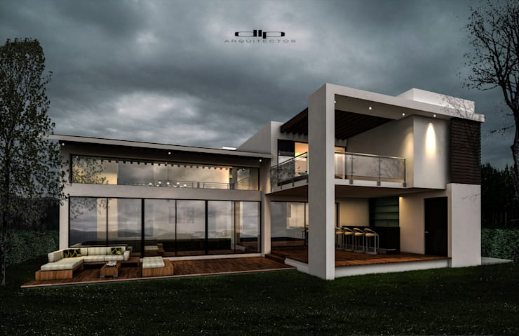 FACHADA POSTERIOR CASA.V-H: Casas de estilo  por dlp Arquitectos