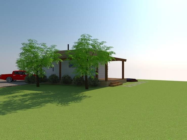 Fachada Posterior:  de estilo  por Arquitectura y Construcción Chinquel