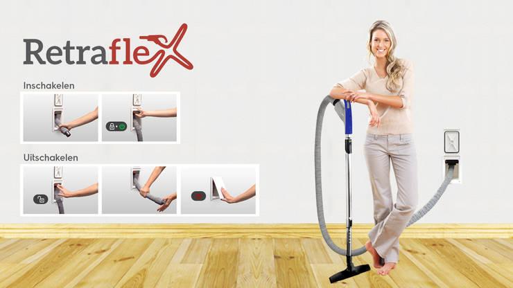 Retraflex slang management:  Huishouden door BEAM Electrolux centraal stofzuigsystemen b.v.
